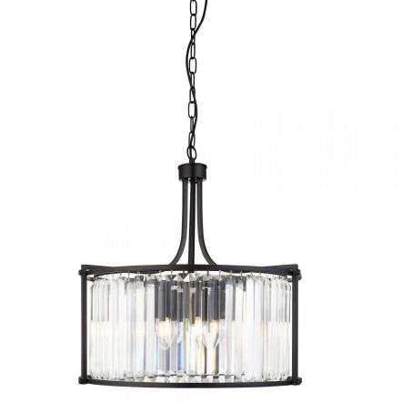 Searchlight 8295-5BK Victoria 5 Light Drum Matt Black Pendant