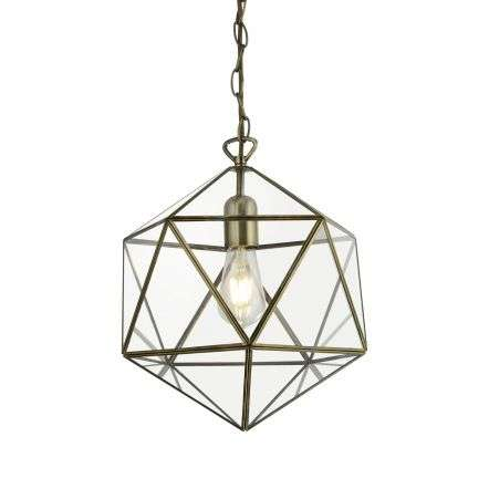 Searchlight 8962AB Terrarium Prisim Shaped Single Pendant Antique Brass