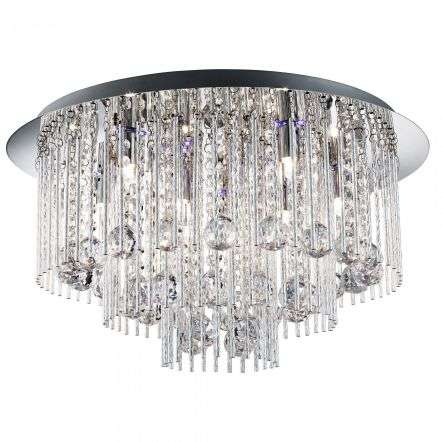 Searchlight 9198-8CC Beatrix Blue LED 8 Light Ceiling Flush With Crystal Ball Drops