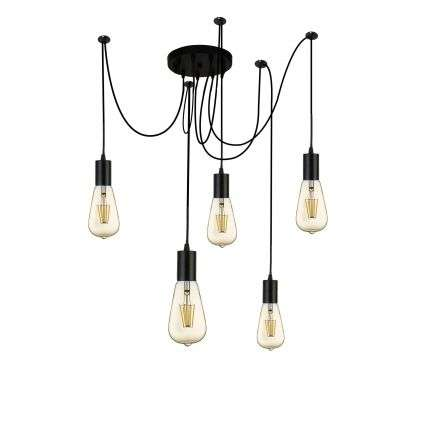 Searchlight 9665-5BK Squiggle 5 Light Spider Pendant Black