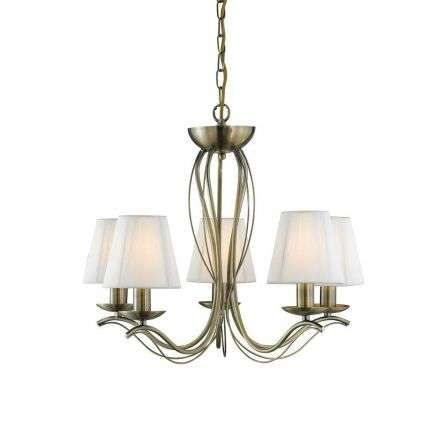 Searchlight 9825-5AB Andretti Antique Brass 5 Light Fitting with Cream Shades