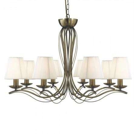 Searchlight 9828-8AB Andretti Antique Brass 8 Light Fitting with Cream Shades