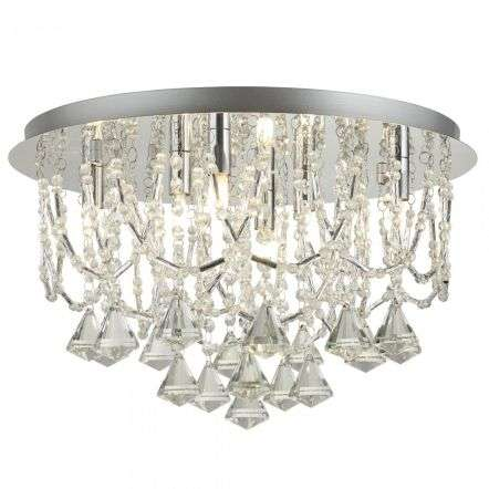 Searchlight 9986-6CC Mela 6 Light Ceiling Flush Chrome With Crystal Pyramid Drops