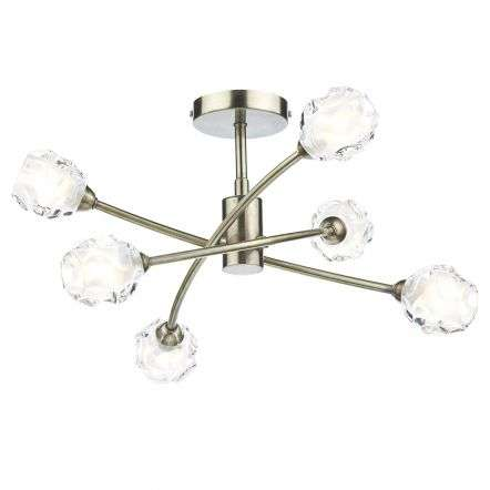 Seattle 6 Light Semi Flush Antique Brass