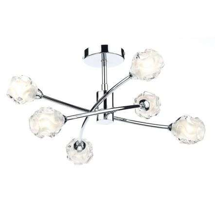 Seattle 6 Light Semi Flush Polished Chrome