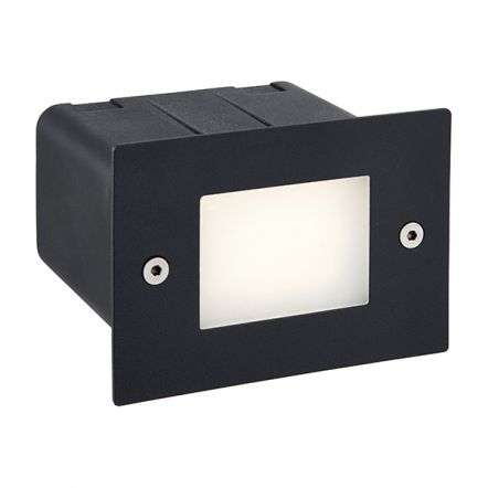 Seina Half Brick Light in Black IP44 2W Daylight White