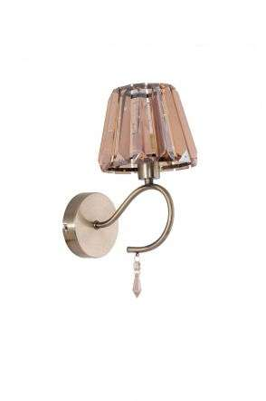 Senza 1 Light Antique Brass Wall Light with Amber Crystal Shade