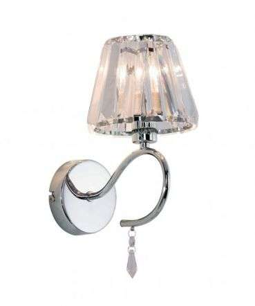 Senza 1 Light Polished Chrome Wall Light with Crystal Shade