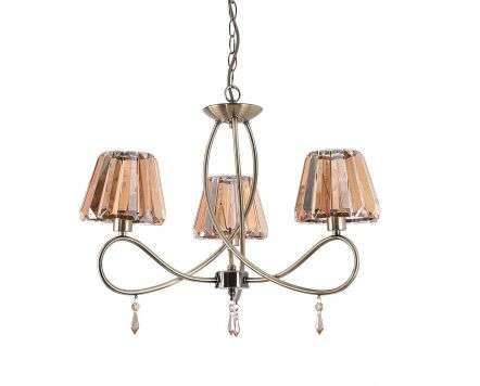 Senza 3 Light Antique Brass with Amber Crystal Shade