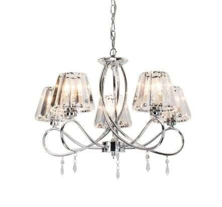 Senza 5 Light Polished Chrome with Crystal Shade