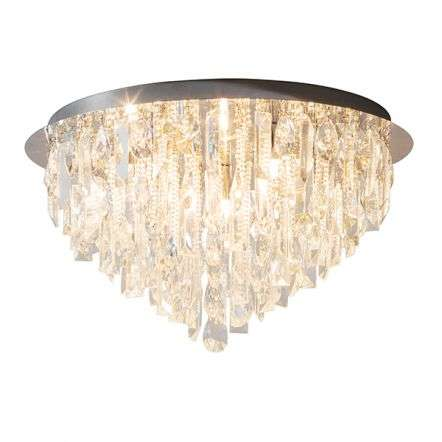 Siena 5 Light Flush Fitting with Clear Crystal Glass