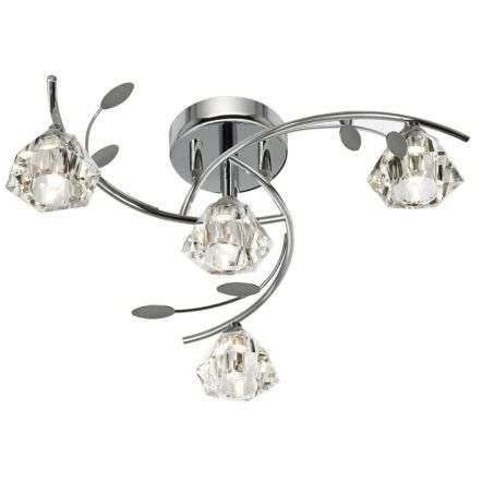 Sierra 4 Light Semi-Flush Ceiling, Chrome With Sculptured Clear Glass Shades