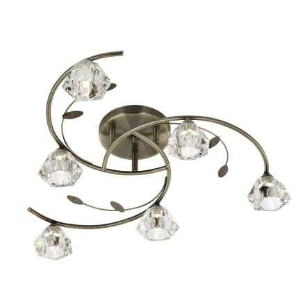 Sierra 6  Light Semi-Flush Ceiling, Antique Brass With Sculptured Clear Glass Shades