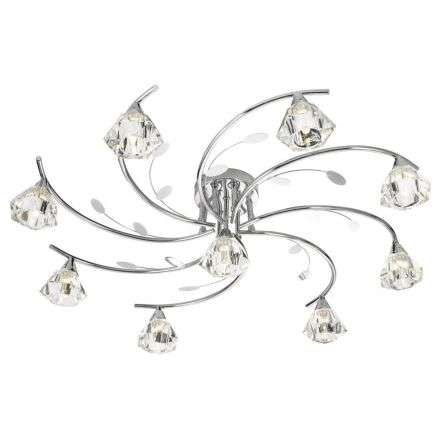 Sierra 9  Light Semi-Flush Ceiling, Chrome With Sculptured Clear Glass Shades