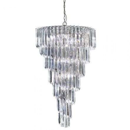 Sigma Chrome 9 Light Chandelier With Clear Acrylic Prisms