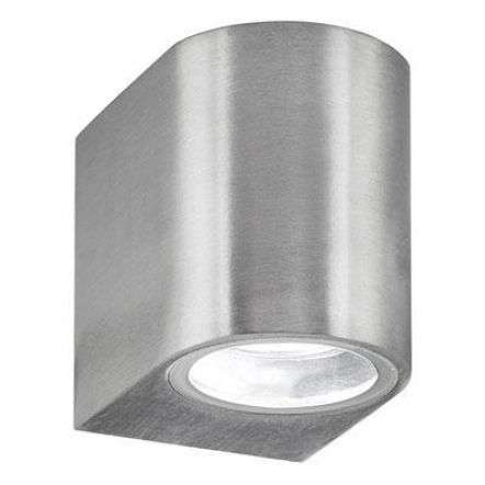 Silver Ip44 Outdoor Light With Fixed Glass Downlight