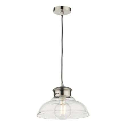 Siren Single Antique Chrome Pendant with Clear Glass Shade