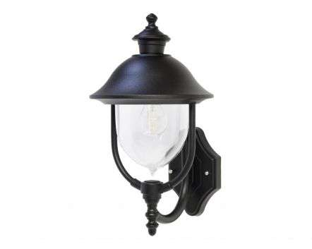 Solar Upturned Wall Lantern Black