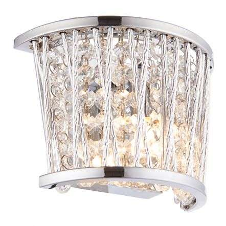 Sophia Wall Light in Chrome with Clear Crystal