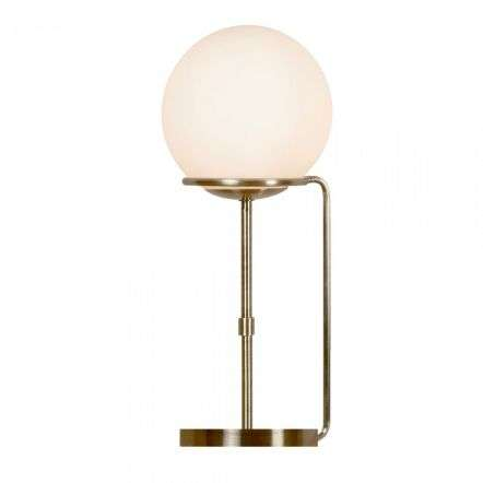 Sphere Table Lamp Antique Brass with Opal White Glass Shades
