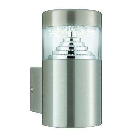 Stainless Steel Ip44 30 Led Wall Light With Clear Diffuser