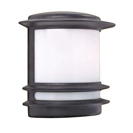 Stroud 1 Light E27 Wall Lantern Black Opal Polycarbonate Shade