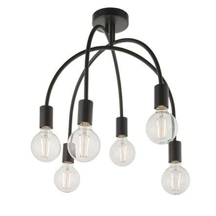 Studio 6 Light Downturned Semi Flush Fitting in Matt Black