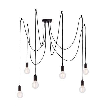 Studio 6 Light Pendant in Matt Black