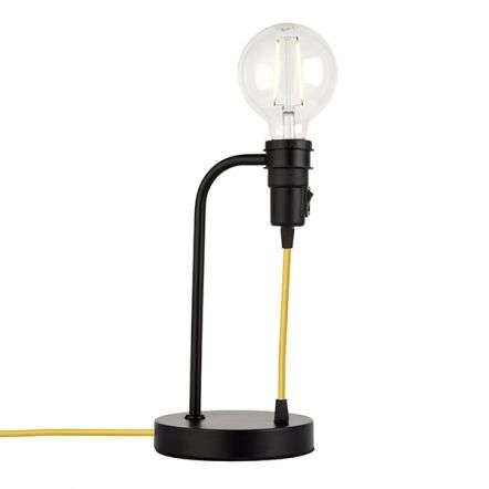 Studio Table Lamp in Matt Black with Yellow Cable