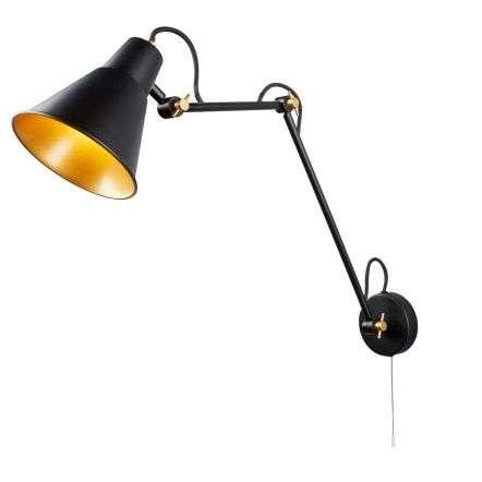 Swing Arm Adjustable Wall Light Matt Black & Gold