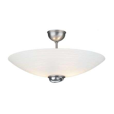 Swirl Semi Flush Pendant White Glass