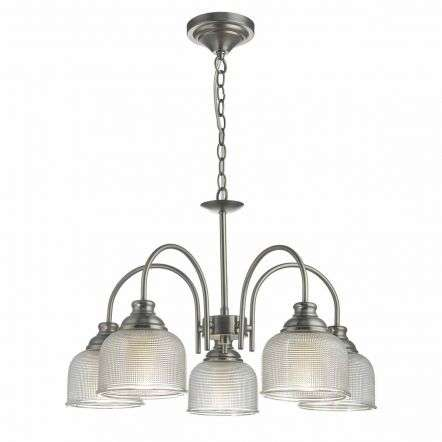 Tack 5lt Pendant Antique Chrome & Textured Glass