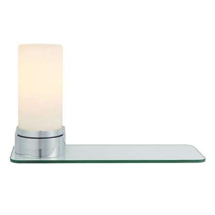 Tal Wall Light in Chrome C/W Clear Glass Shelf