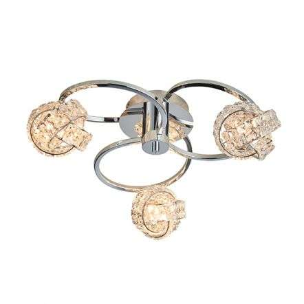Talia Chrome & Crystal 3 Light Semi-Flush Fitting