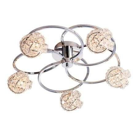 Talia Chrome & Crystal 5 Light Semi-Flush Fitting