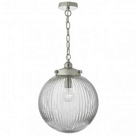 Tamara 1lt Pendant Satin Nickel & Ribbed Glass