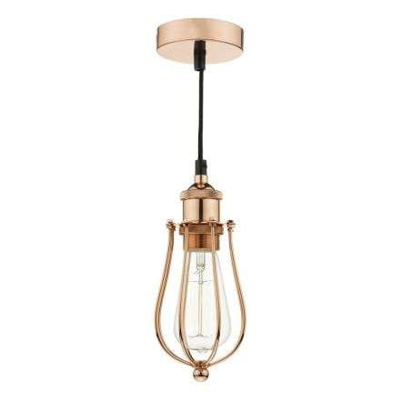 Taurus 1 Light Pendant Cage Bright Copper | Online Lighting Shop