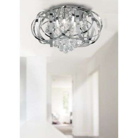 Tilly Chrome 3 Light Fitting with Intertwining Strips Glass Balls