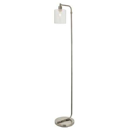 Toledo Brushed Nickel Floor Lamp with Clear Glass Head