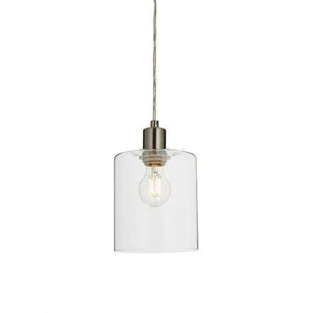 Toledo Brushed Nickel Pendant with Clear Glass Head