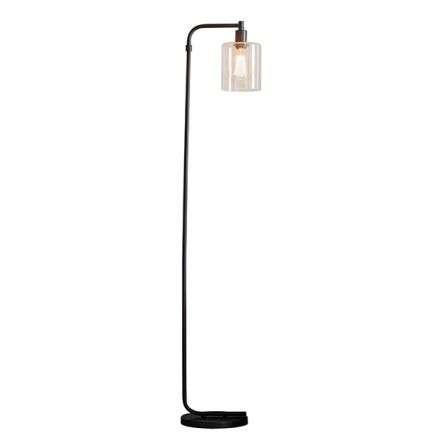 Toledo Matt Black Floor Lamp with Clear Glass Head