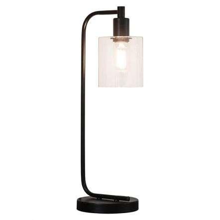 Toledo Matt Black Table Lamp with Clear Glass Head