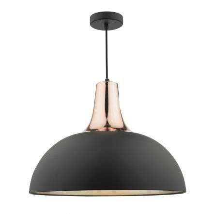 Toronto Pendant Matt Black & Copper