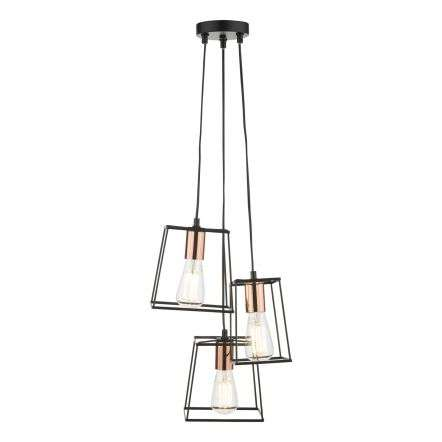 Tower 3 Light Cluster Pendant Black with Copper Detail