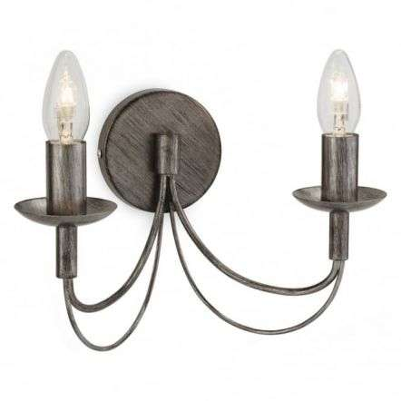 Traditional Antique Silver Candle Stick Wall 2 Light