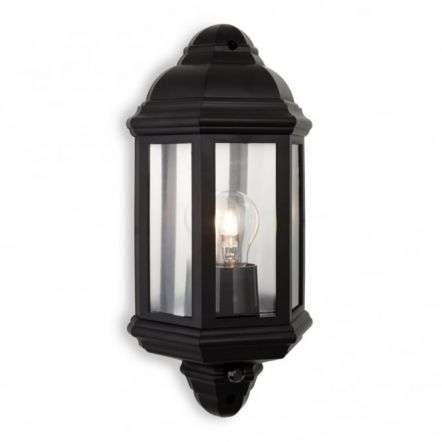 Traditional Black Flush Garden Wall Lantern With PIR Senor