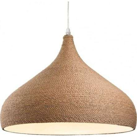 Traditional Brown Rope Fabric Wooden Dome Ceiling Light Pendant