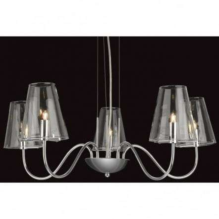 Traditional Chrome 5 Shade Clear Glass Wall Light