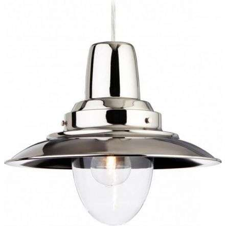 Traditional Chrome Metal Fisherman Pendant Light
