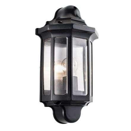 Traditional Half Lantern IP44 60W Wall - Satin Black Paint